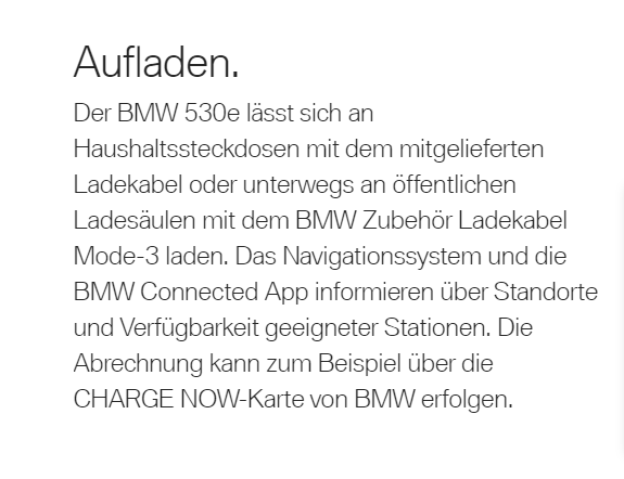 BMW 5er Laden - Text